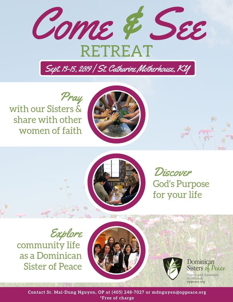 Come and See Retreat Registration Fall 2019 - Dominican Sisters of Peace